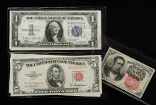MISC BILLS - Lot of (5) Misc Bills include: (1) 1928-A $1 Silv Cert, funny back, VF; (1) 1934 $1 Silv Cert, XF+; (1) 1957 $1 Silv Cert Star Note, CU; (1) 1953-A $5 US Note, CU; (1) 1874 10 Cent Fract Currency, VG.