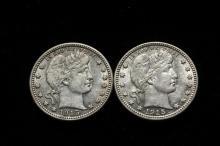 COINS - (2) 1915-D Barber Quarters, both nice AU's.