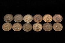 COINS - Lot of (12) Indian Head Cents include; (1) 1903, XF; (1) 1904, XF; (2) 1905, R&B Unc; (2) 1906, R&B, Unc; (2) 1907 R&B, Unc; (2) 1908, Unc & XF; (2) 1909, Unc & AU.