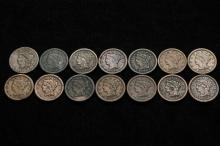 COINS - Lot of (14) Large Cents, a few AG, mostly G-VG.