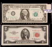 CURRENCY - 1977A $1.00 Overprint (reverse w/ obv. printing), plus (7) Red Seal $2.00 Bills and (6) $1.00 Silver Certificates.