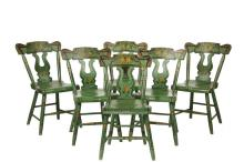 (SET OF 6) COUNTRY SHERATON CHAIRS - Scroll and Lyre Back Softwood Chairs in apple green paint, with painted fruit decoration, gold 'angel wings' and gold with black pinstriping, circa 1840, 17