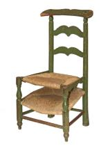 FRENCH PRIE DIEU CHAIR - Unusual 18th-19th c. Provincial Convertible Chair in green painted wood, with upper rush seat hinged at back to access slanted rush frame for kneeling, slanted back rail for praying (rather cr...