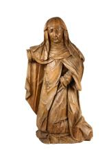 EARLY CONTINENTAL ECCLESIASTICAL SCULPTURE - Late Renaissance or Mannerist Figure of Kneeling St. Anne, probably depicting her at the Visitation of the Angel, Austrian or German, in lindenwood, roughly 34 3/4