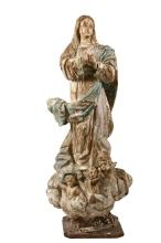 ECCLESIASTICAL STATUE - 17th c. Spanish Madonna Ascending, in carved and polychromed wood, with glass eyes, three cherubim cavorting in the clouds at her feet, her hands clasped at her breast and eyes raised towards h...