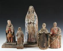 (5) SPANISH COLONIAL SANTOS - 19th c. Figures of Female Saints, or the Madonna, with tags indicating sources of Puerto Rico, Colombia and Mexico. Ranging in size from 9