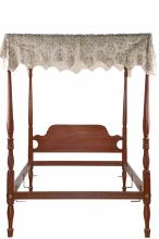 CANOPY BED - 19th c. Mahogany Chippendale Canopy Double Bed, fluted, reeded and acanthus leaf carved with ring turned stops, cast brass bolt covers, shaped panel headboard, flat canopy frame with early crochet cover, ...