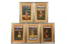 (5) MUGHAL INDIAN PAINTINGS - Portraits of Mughal Rulers, India, watercolor on wasli, 19th c., the figures in profile depicted standing in landscapes, wearing angarkha tied with sashes securing a sword, jewelry and tu...