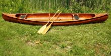 PETERBORO CANOE - Canadian Longitudinal Strip Built Canoe, by the Peterboro Canoe Co. of Quebec, Ontario, model # 1427, s/n 2523, model name: 'Canadien', years built 1941-1956. 16 ' x 31