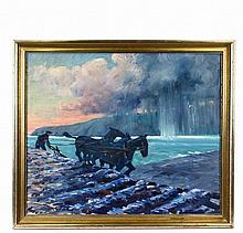 CADWALLER LINCOLN WASHBURN (ME/CA/MN, 1866-1965) - Plowing on the Harbor, Coming Storm, oil on canvas, unsigned, estate stamp verso, in gold molded frame, OS: 28