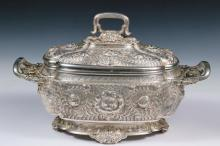 TUREEN - Tiffany & Co. Sterling Silver Large Covered Soup Tureen, #4627-3351, circa 1880s, with intricate floral and foliate repousse decoration, rooster heads at edges of both handles, and rolled feet, engraved