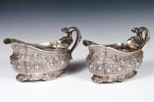 PR GRAVY BOATS - Pair of Tiffany & Co. Sterling Silver Gravy Boats, c. 1880s, with ornate floral and foliate repousse decoration, four folded feet, # 4629-3362, also marked
