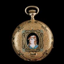WATCH - Heavy 14K Yellow Gold Fancy Engraved and Enameled Hunter Case Pocket Watch, with central oval enameled panel portraying a young woman on front cover, back cover engraved with scroll and floral design and color...