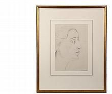 WILLIAM ZORACH (NY/ME, 1887-1966) - Head of a Woman in Profile, graphite on paper, signed lower right, circa 1930s, in gold frame, matted and glazed, OS: 21