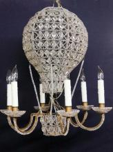 FIGURAL CRYSTAL CHANDELIER - Hot Air Balloon Form Electric Chandelier, crystals and beads on wire frame, six-stem, probably French, circa 1930s, 24