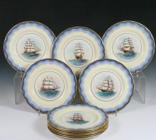 (SET OF 11) LENOX NAUTICAL PLATES - Famous American Sailing Ships, Hand Painted and Gilt Display Plates made for Black, Starr & Frost, Gorham, Inc. of New York. Ships are all under sail at sea, identified verso, and i...