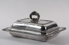 ENTREE SERVER - English George III Period Sterling Rectangular Covered Entree Dish, hallmarked for London 1818 by silversmiths Joseph Craddock & William Ker Reid, with base, lid and detachable loop handle, gadrooned e...