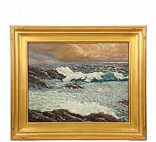 CHARLES HERBERT WOODBURY (MA/ME, 1864-1940) - Breakers, oil on maso, signed lower left, in replica gold Arts & Crafts frame, OS: 22