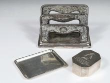 (3) SILVER DESK ACCESSORIES - Group of Sterling Desk Items by Tiffany & Co and Gorham, including: Gorham Art Nouveau period letter holder, 1906 date mark, with overall engraved surface, engraved script monogram NAG, 5...
