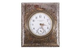 TRAVEL CLOCK - Swiss Made Travel Clock in Sterling Silver Case by Black Starr & Frost, New York, circa 1930s, with swirl engraved surface and monogram AMC, separate second hand dial, retractable standing ring, marked ...