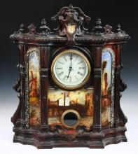 VICTORIAN CAST IRON MANTEL CLOCK - Very ornate 19th c. Gothic Revival Mantel Clock with cast iron fascia, having mother-of-pearl applique and painted lanscapes, the center is captioned