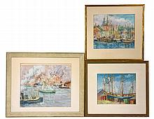 HORTENSE T. FERNE (ME/NY, 1885-1976) - (3) Northeast Harbor Scenes, pastel on paper, circa 1930, including: (2) Views of Gloucester Harbor,
