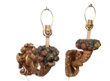 PAIR OF 19TH C. ITALIAN CARVED WOOD SCONCES - Polychromed and Gilt Baroque Style Cornucopia with ornate backplate, now wired for electric with a single socket, includes damaged paper shades, rougly 15