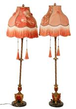 PAIR OF ORNATE 1920S FLOOR LAMPS - Egyptian Revival Three-Socket Torchieres in gilt bronze with orange enameling, on a black marble disc base, with spectacular period silk shades, with ruched and embroidered panels, s...