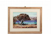 ANDREW GEORGE WINTER (NY/ME/MA, 1893-1958) - A Two-Sided Watercolor: Barbados Beach & Maine Inlet, watercolor on Arches paper, both are signed, double-glazed with mats and blonde frame, OS: 21 1/2
