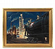 WOODI ISHMAEL (AL, 1914-1995) - Olin Mathieson Plant at Doe Run in Brandenburg, KY, late 1950s, oil on board, signed