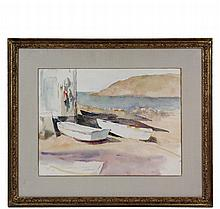 ALICE KENT STODDARD (PA, 1883-1976) - Boats on Fish Beach, Monhegan, watercolor on paper, stamped with her intials lower right and with the estate stamp verso from David David Art Gallery of Philadelphia, inventory nu...