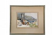 SEARS GALLAGHER (MA, 1869 - 1955) - Monhegan Fish Shack, watercolor on Arches paper, signed lower right, in green painted box frame, matted and glazed, OS: 19