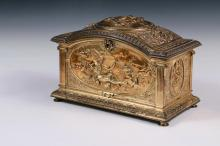 JEWELRY CASKET - Classical Revival Gilt Bronze Casket with bas relief panels of Roman dieties, stepped and arched hinged top having a molded edge, reeded column corners, molded base with disc feet, the interior in but...