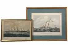 (2) NAUTICAL PRINTS - Both framed hand colored lithographs, including: The
