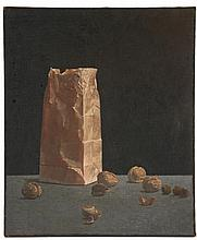 JOSEPH BATTAGLIA (NY, 1925 - 2006) - Still Life with Paper Bag and Walnuts, oil on coarse linen, signed 'Battaglia' lower left. Signed verso, marked '10-18-70' and 'II', unframed, SS: 24
