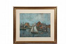FRANCIS ORVILLE LIBBY (ME, 1883-1961) - Sailboat and Fish Shanties, pastel on artist's board, unsigned, artist identified verso, in gold frame, matted and glazed, OS: 27 1/2
