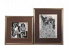RICHARD TUCKER (ME, 1903-1979) - (2) Black & White Gouaches on board, including: