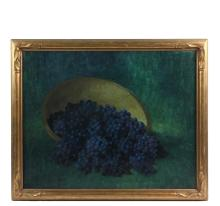 LEONARD WOODRUFF (OK/CA/KS, 1880-1970) - Concord Grapes Spilling from a Wooden Charger, oil on canvas, signed lower left, circa 1910, in hand carved gilt Arts & Crafts frame, OS: 27 1/2