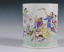 CHINESE PORCELAIN BRUSH WASHER - Kangxi Cylindrical Vessel decorated with wonderful scene of figures rising from the ocean, a child grasping lingzhi floating above on a cloud of flowers, lengthy inscription with seals...