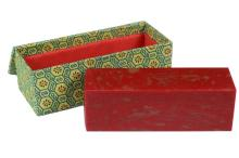 CHINESE HARDSTONE - Chinese Chicken Bloodstone Seal Block, with uncut heel, slightly domed top. In fabric covered box. 6