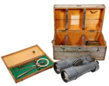 WWII JAPANESE CASED NAVAL BINOCULARS & PROTRACTOR - World War II 20 x 115 Ship Mounted Binocular (Destroyer), Japan, with pale grey-painted finish, rotating eyepieces and 1 1/8-inch socket mount for tripod or deck mou...