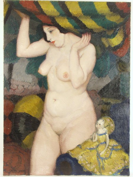 OOC - Nude with Doll Under Striped Awning by Gaston Jarry (Argentina, 1889-1974), unframed, SS: 31