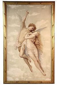 Oil on Scrim Cupid w/ Psyche J F Douthitt NY c1890