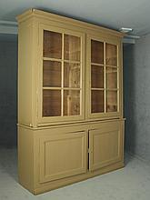 CUPBOARD - Large Three-Part Stepback Cupboard with two glass door top and two recessed panel base, original old wavy glass, adjustable shelf interior, molded crown, old pegged construction with decorative hinges. 8' -..