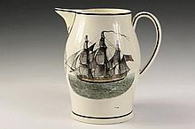 LIVERPOOL PITCHER - Large Soft Paste Wedding Pitcher made for Henry R. and Eliza Curtis, circa 1800, with transfer decoration, having their names under the spout above an American Eagle, the