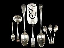 FLATWARE - (8) pieces of Georgian Period Sterling Silver Flatware, including: Fish Slice/Server with engraved and reticulated rectangular blade, hallmarked for Dublin 1810 by silversmith George Nangle, with engraved b...