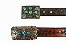 BELT BUCKLES - Lot of (2) Native American Crafted Sterling Silver and Turquoise Belt Buckles with tooled leather straps, including: Rectangular buckle by Navajo maker Charlie Mike Yazzie, with excellent silver overlay...