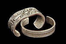(2) BRACELETS - Lot of (2) Heavy Sterling Native American Crafted Engraved Silver Cuff Bracelets; one by Navajo maker Darin Bill, 5/8