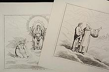 BARTELOMEO PINELLI (Italy, 1771-1835) - A Collection of (21) Original Engravings from the (145) print set of Dante's Inferno/Paradisio/Purgatorio folio, printed in Rome 1825-1826, signed in plate, each with caption, c..