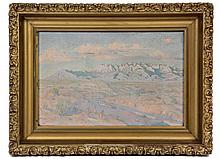 AUGUSTA KNUDSEN (CA, 1884-?) - Southwest Canyon Sunrise, oil on canvas, signed on stretcher, in vintage gilt gesso frame. OS: 11 1/2